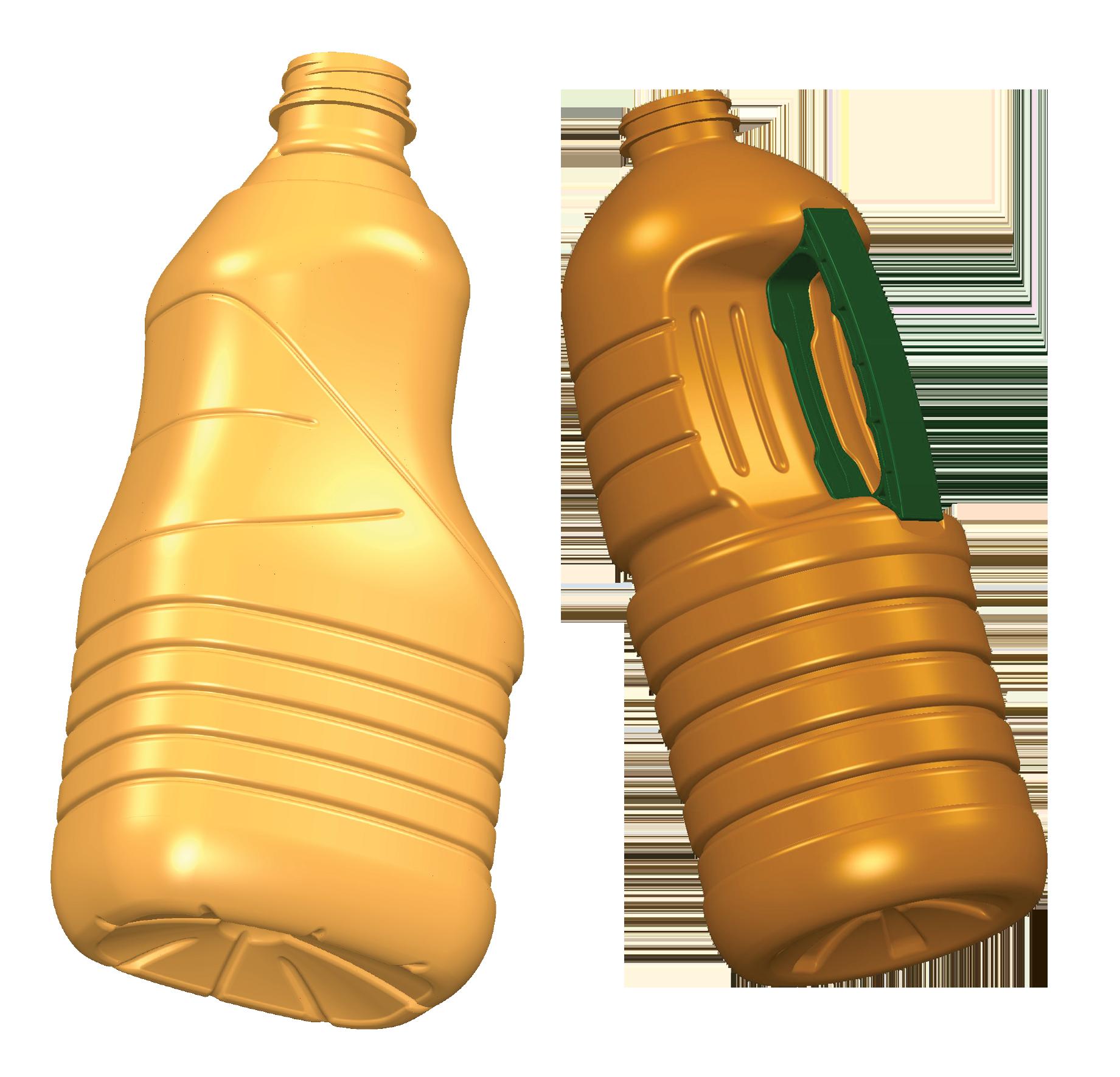 Bottles with built-in handles