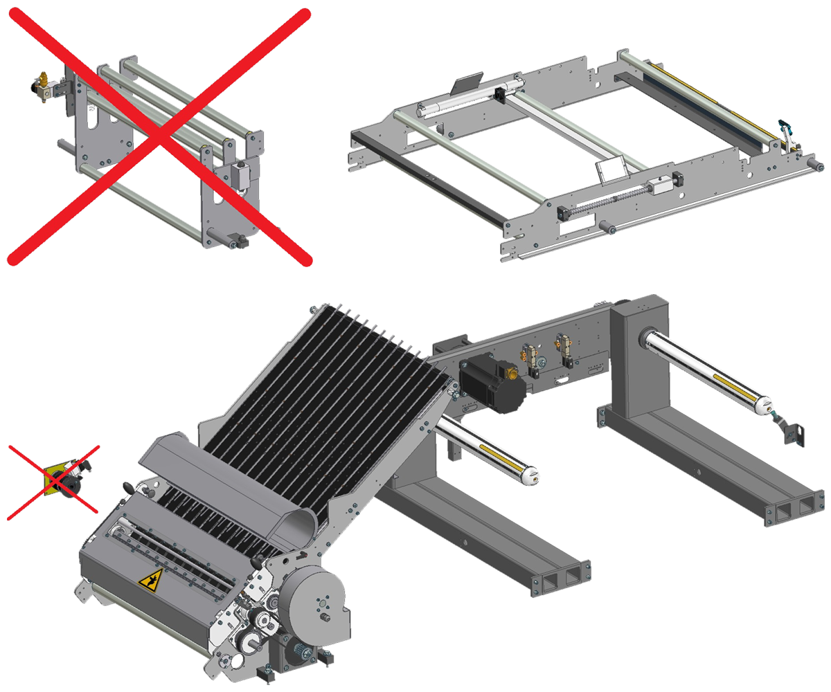 ZF010009/10 - Grupo de faca com lâmina motorizada para encaixes em Seladoras SK único e duplo, incluindo rolos de tensão e suporte de carretel servo-accionado