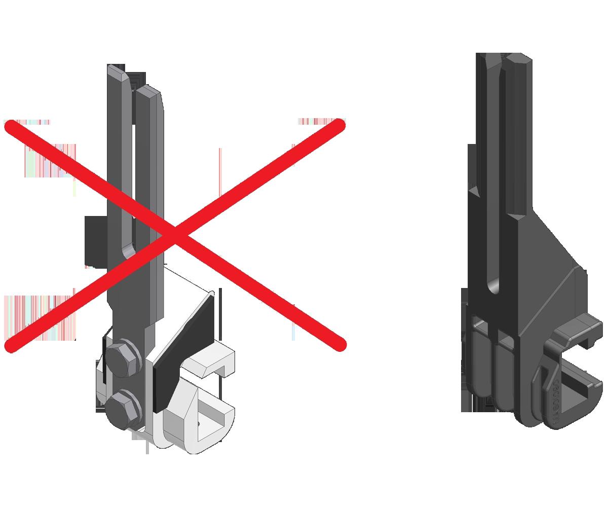 ZF010025 - Substituição dos braços Al-Steel por braços de plástico de nova geração.